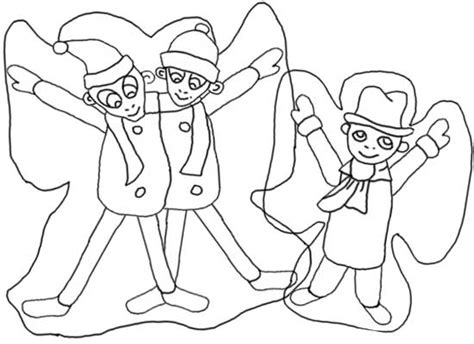 making snow angels coloring pages