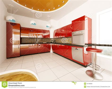 modern kitchen interior 3d rendering interior design of modern kitchen 3d render stock photo
