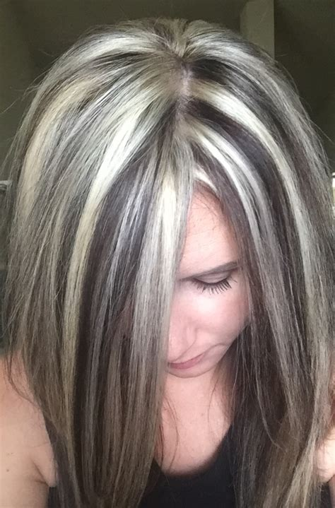 silver white hair with brown lowlights highlights and lowlights hair pinterest hair