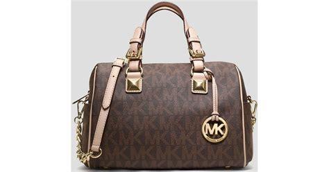 Michael Kors Grayson Signature Pearl Grey lyst michael michael kors satchel grayson medium signature logo chain in brown