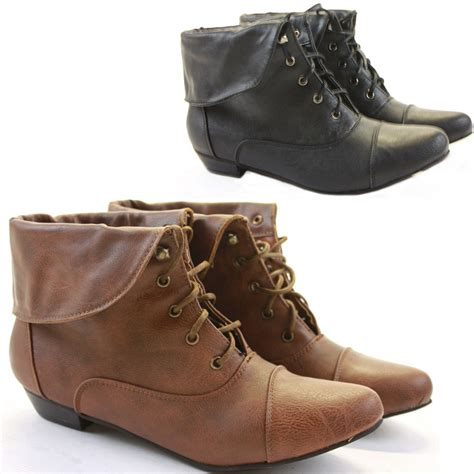 womens flat ankle boots womens pixie vintage style winter low heel flat