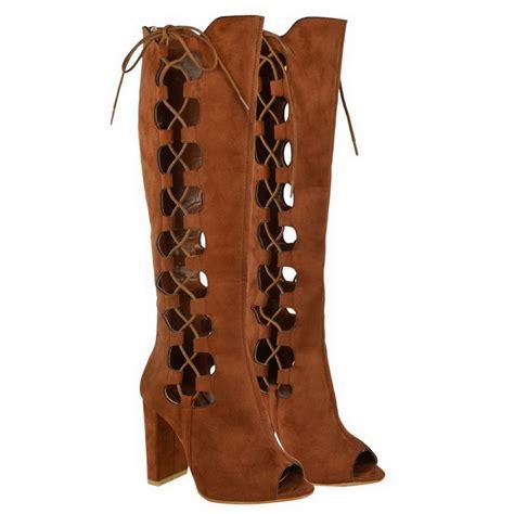 peep toe high heel boots womens lace up knee high block heel open toe peep