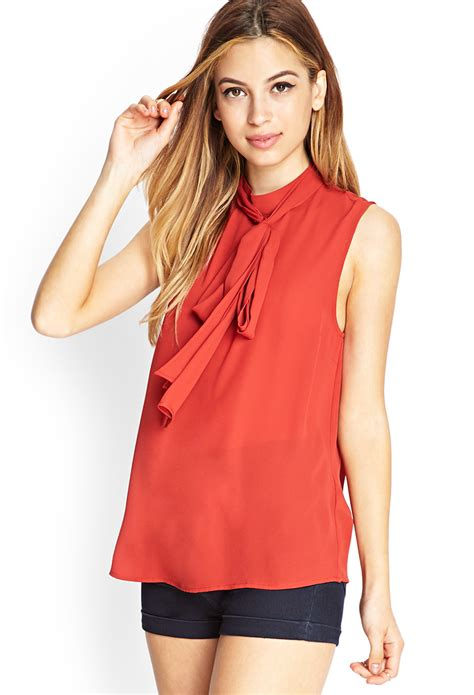 Forever Blouse lyst forever 21 high neck self tie blouse in