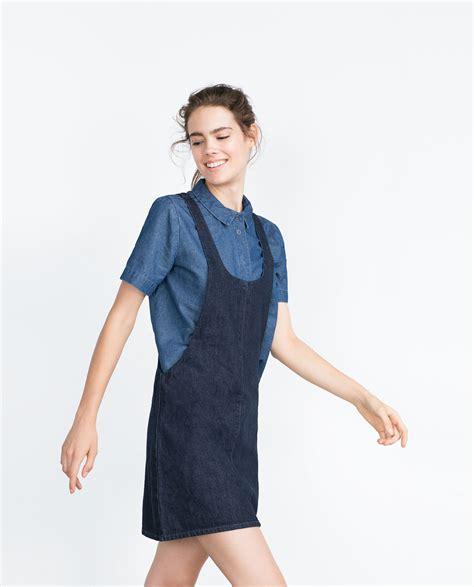 Dress Denim Zara zara quot essentials quot denim pinafore dress in blue lyst