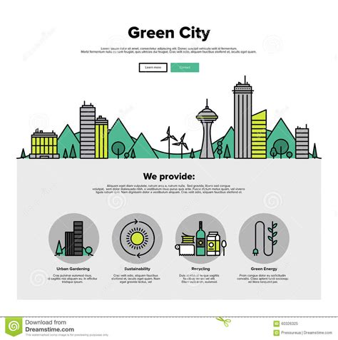 green city flat line web graphics stock vector image