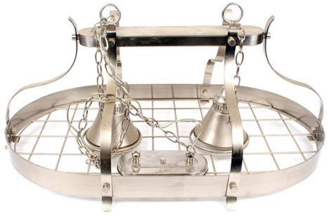Stainless Steel Pot Rack With Lights stainless steel pot rack w 2 pendant lights p u nj ebay