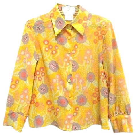 Blue Yellow Flower Tshirt T3010 1 vintage chanel yellow pink orange etc floral print