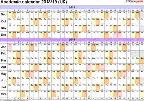 Academic Calendar Template Pdf Academic Calendars 2018 2019 As Free Printable Pdf Templates