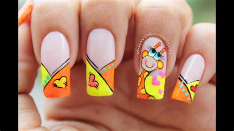 decoraci 243 n de u 241 as jirafa giraffe nail art youtube