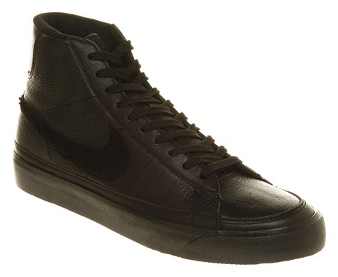 nike blazer mid black mono leather trainers shoes ebay