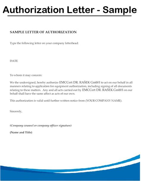 Authorization Letter With Reason Authorization Letter Sle Format Document Blogs