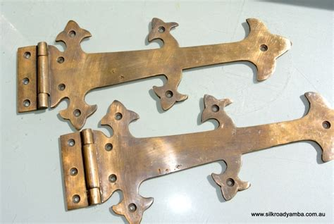 How To Restore Brass Door Hardware by 2 Large Hinges Vintage Aged Style Solid Brass Doors Box