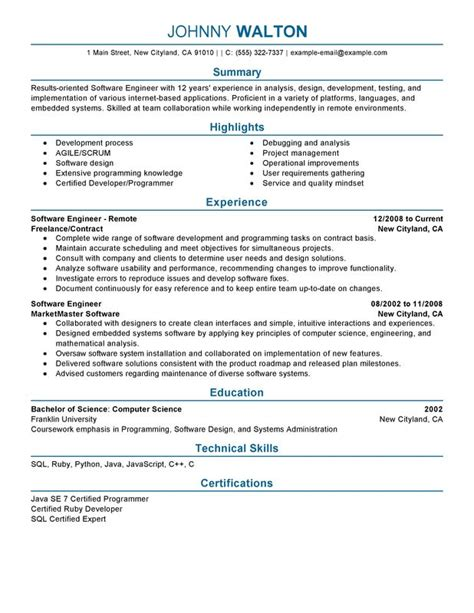 Software Engineer Resume Template by Remote Software Engineer Resume Exles Free To Try