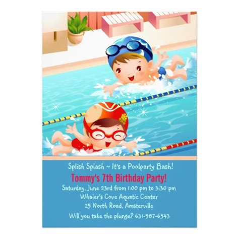 swimming invitations templates free swimming tots pool invitation 5 quot x 7 quot invitation