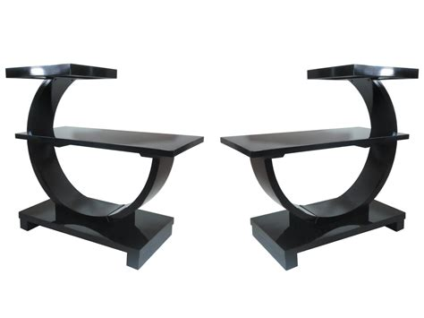 black lacquer end table pair of deco modernage black lacquer end