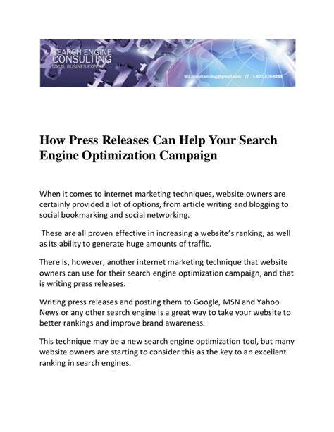 Search Engine Optimization Articles 1 by How Press Releases Can Help Your Search Engine