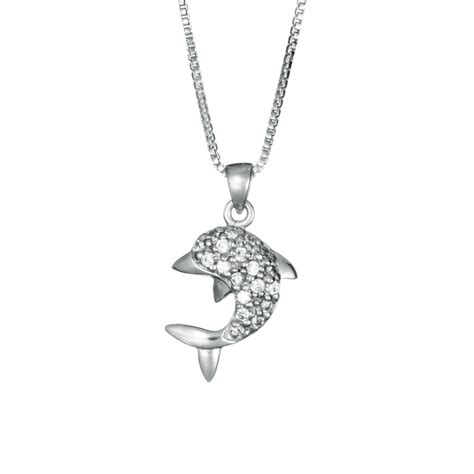 sterling silver dolphin necklace with cz landing company