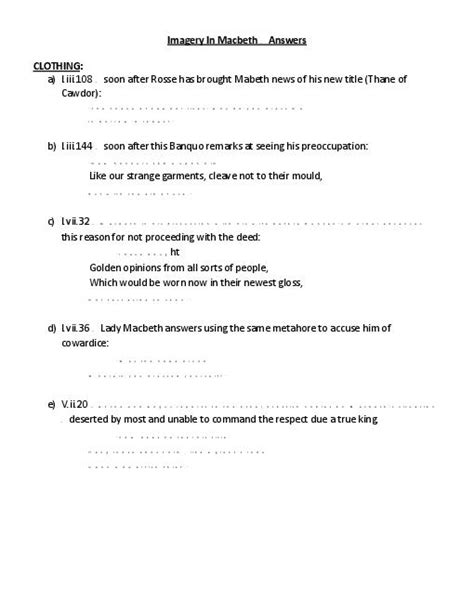 macbeth themes and imagery worksheet blood imagery in macbeth quotes quotesgram