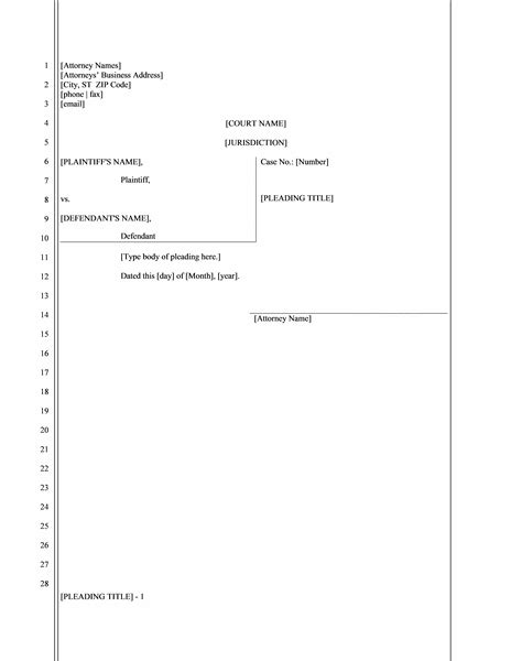 legal pleading paper 28 lines office templates
