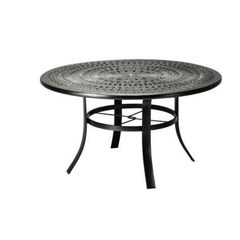 Metal Patio Dining Table Tradewinds 42 In Black Cast Aluminum Commercial Patio Dining Table 42sacmb8239m 4 The Home Depot