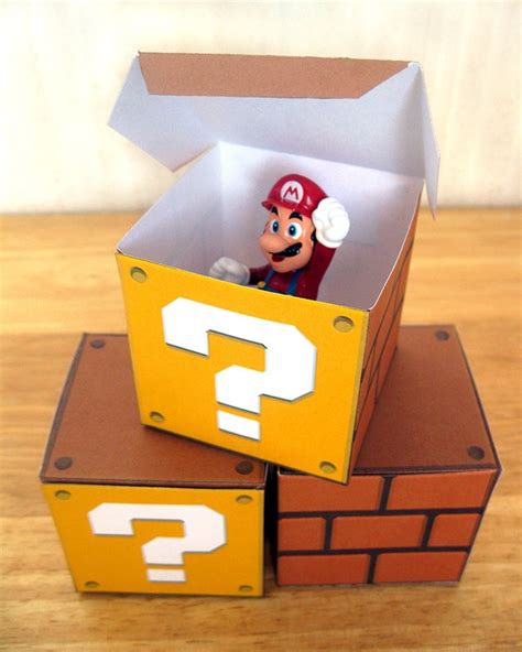 mario mystery box l super mario question block papercraft party favor boxes 8