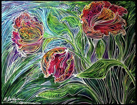 design batik abstract parrot tulip batik abstract painting