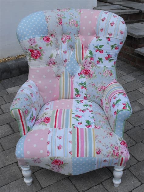 Patchwork Covered Chairs - a unique patchwork chair using cath kidston heavy weight