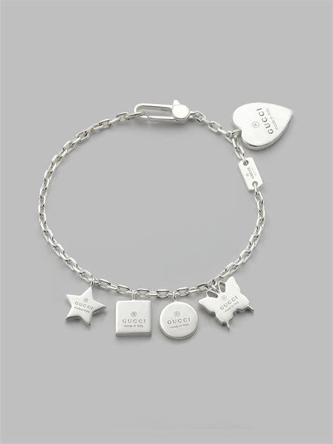 gucci sterling silver charm bracelet in metallic lyst