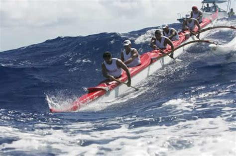 kayak surfing between two boats molokai hoe island to island outrigger canoe race happens