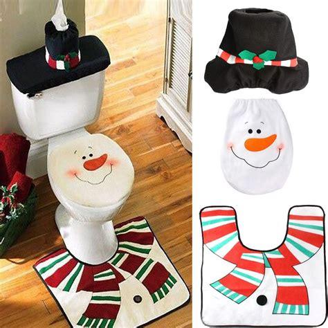 snowman bathroom set 3pc set cute smiley face snowman happy santa toilet seat