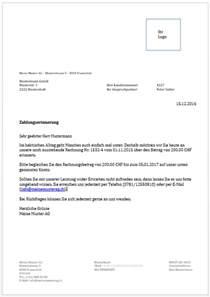 Vorlage Zahlungserinnerung Schweiz Zahlungserinnerung Vorlage Muster Zum Gratis
