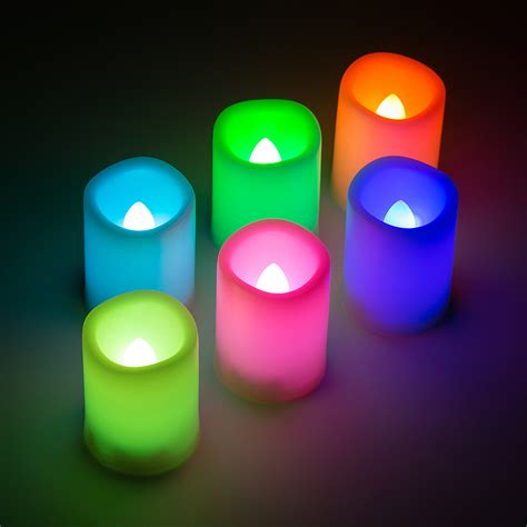 6x New Flameless Flickering Led Tea Light Candles 6x Led Flameless Color Changing Flickering Ivory Candles Battery Operated Ebay