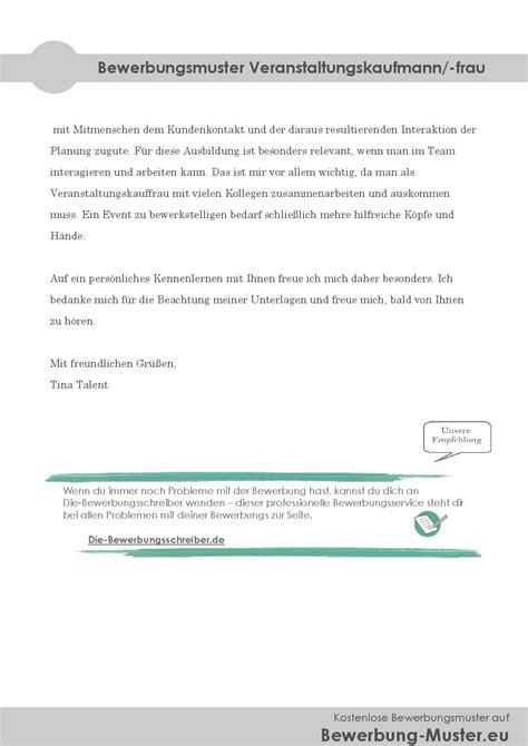 Initiativ Bewerbung Kaufmann Kostenloses Bewerbungsmuster Veranstaltungskaufmann Frau