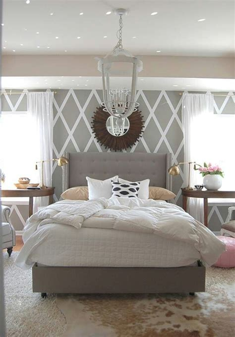 Soothing Bedroom Decorating Ideas by Cool Walls Chandelier And A Great Mirror Calming Greys