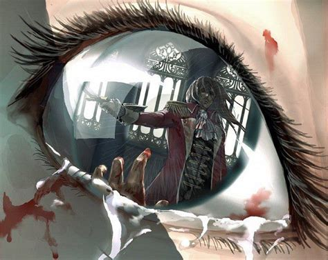 creepy anime eye reflection art anime cartoon drawing