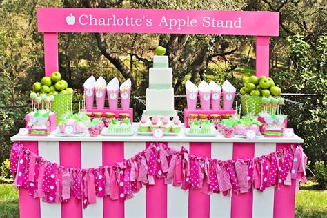 themes for a girl birthday party kara s party ideas apple of my eye girl pink green fruit