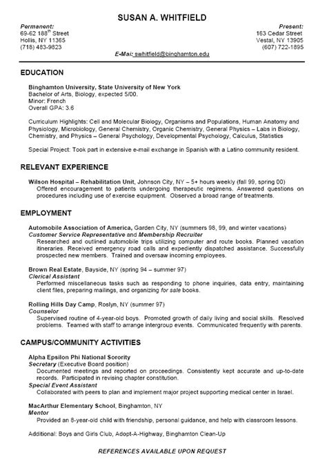 College Resume Format For High School Students   Free