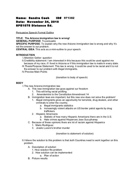 Sle Speech Outline sle persuasive essay outline 100 100 images outline