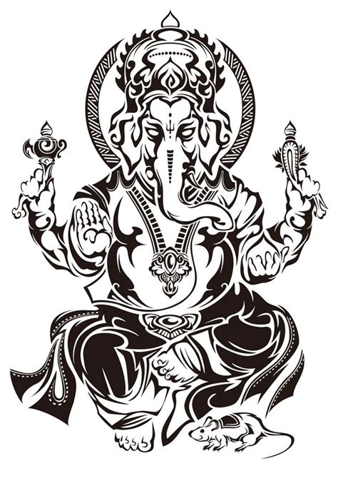 ganesh tattoo template black tribal ganesha tattoo stencil by takihisa