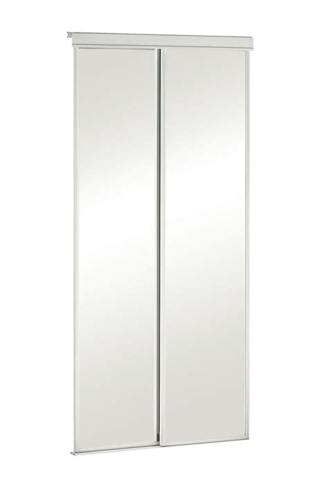 36 Sliding Closet Doors Veranda 36 Inch White Framed Mirrored Sliding Door The Home Depot Canada