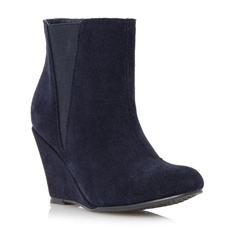 linea omari suede wedge heel ankle boots in blue navy lyst