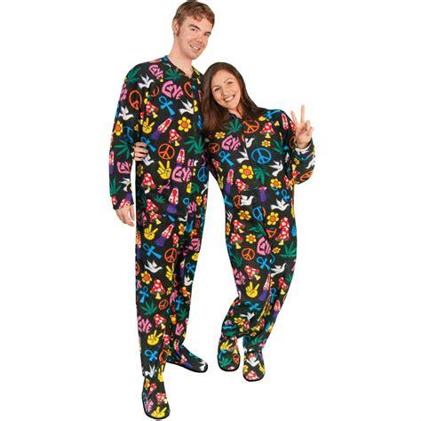 drop seat footed pajamas for adults footed pajamas drop seat peace sign fleece pajama city