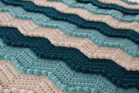 small ocean waves crochet blanket in beautiful blues teal aqua chevron ripple waves crochet aghan ready by