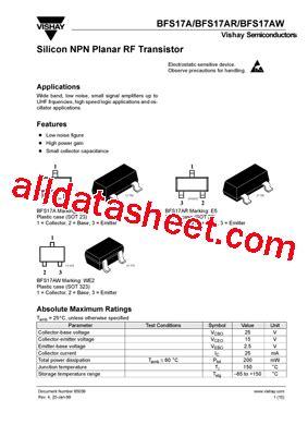 transistor datasheet vishay bfs17a datasheet pdf vishay siliconix