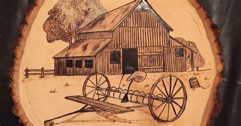 barn  rake wood burnt art  wood burning art