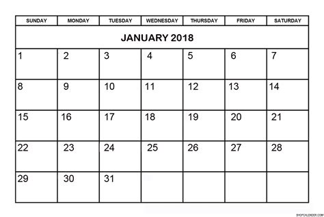 Calendar 2018 Jan June January 2018 Free Printable Calendar Blank