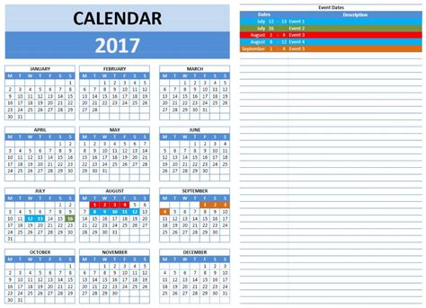 Free 2017 Year And Monthly Calendar Template Event Calendar Template 2017