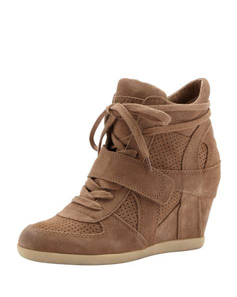 ash wedge sneaker ash bowie suede wedge sneaker bordo in brown light brown