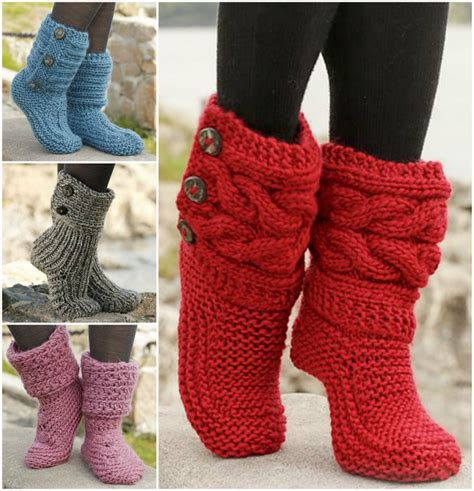 knitted boot slippers free knitted crochet slipper boots patterns
