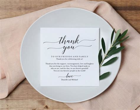 wedding thank you place card template wedding thank you card thank you printable wedding table